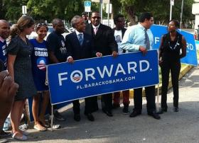 Helping The Early Vote: MSNBC show host and activist Al Sharpton helped to organize a Souls to the Polls caravan from New Generation Baptist Church in Opa-locka.