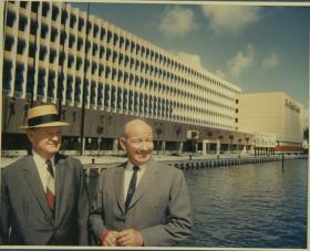 Mythic Leaders: John S., left, and James L. Knight at their new building on Biscayne Bay. John bought the Herald in 1937.