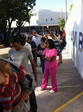 Early voters have faced long wait times. Above, voters at the Miami Beach City Hall.