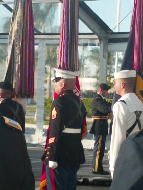 The changing of command ceremony drew hundreds of people, including top military brass.