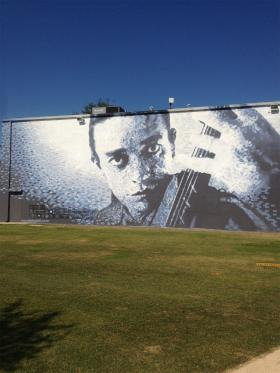 One of two murals of Jaco Pastorius, overlooking Jaco Pastorius Park in Oakland Park.