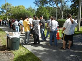 Some voters stood in line for hours to cast an early ballot in Kendall.