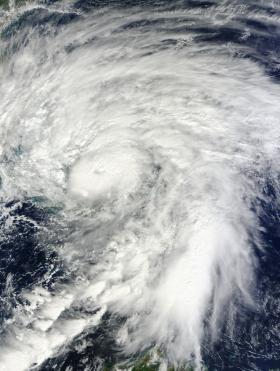Satellite image of Hurricane Sandy swirling over the Bahamas, October 26, 2012