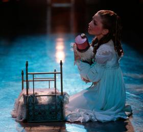 Marie and the title character in a scene from the Miami City Ballet production of George Balanchine's The Nutcracker