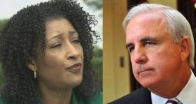 Still Waiting: Miami-Dade Elections Supervisor Penelope Townsley will brief Mayor Carlos Gimenez, right, on voting delays that he calls 'inexcusable.'