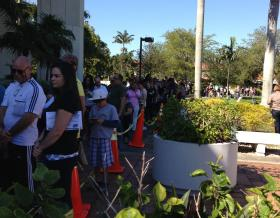 People stood in a five hour long line in West Dade Regional Library yesterday waiting to vote on the last day of early voting.