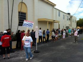At Hollywood's First Baptist Church Tuesday morning when voting wait times were up to one hour.
