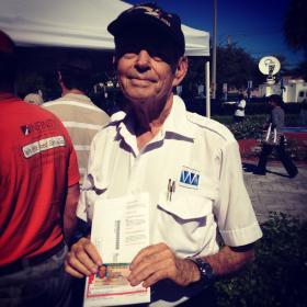 Shlomo Cohen, an Israeli-American from Miami Lakes, stands in line to cast his absentee ballot in favor of Barack Obama at the Elections Headquarters in Doral on election day.