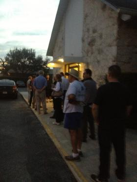 Voters outside St Stephen's Lutheran Church in Pompano Beach.