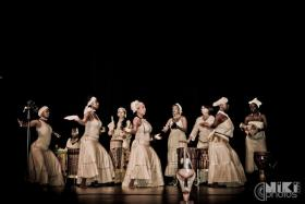 """Venus Rising performs """"Rhythms of Diversity,"""" mixing in world fusion into its traditional West African dance and drum work, with an emphasis on the female role, form and movement; the Children of Kuumba join in for the South African boot dance."""