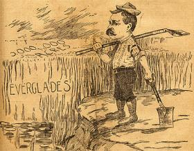 NAMED FOR HIM: Napoleon Bonaparte Broward, drainer of the Everglades, as lampooned in 1905.