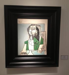 Pablo Picasso's 1953 painting, 'Femme Assise,' on display at Art Basel in the Landau Fine Arts Gallery.