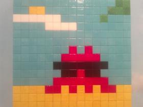 Space Invader: Street artist Invader's tiled riff on a very old video game. At the Pulse Art Fair.