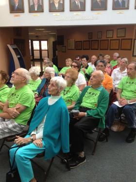 Residents from the Century Village in West Palm Beach during Thursday's County Commission meeting.