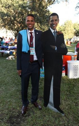 Lynn University student Eric Gooden with a life-sized cut-out of President Obama, days before the Oct. 22nd debate.