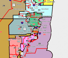 Redistricting last year may have had a role in making it more difficult for PIN members to name their state legislators.  Above, a map showing pre-redistricting Senate district boundaries (in red) and current Senate district boundaries (in black).