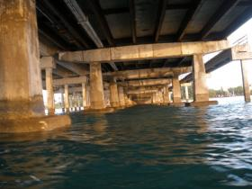 UNDER THE BRIDGE: Steel girders that support the 66-year-old Bear Cut Bridge are corroding and need to be replaced.