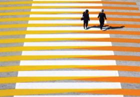 A rendering of Carlos Cruz-Diez's proposed crosswalk for the Wynwood Ways project