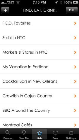 A screen shot gives example of the lists a user can create on the Find.Eat.Drink app.