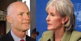 PRINCIPALS: Gov. Rick Scott and HHS Secretary Kathleen Sebelius.