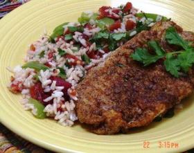 Cumin-Chili Crusted Snapper with Tomato Rice (Arroz con Jitomate)