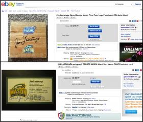 Two examples from eBay of alleged George Mason-era autographs by Jim Larranaga.