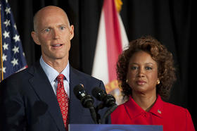 Gov. Rick Scott and Lt. Gov. Jennifer Carroll at a news conference in Fort Lauderdale two days before they were elected.