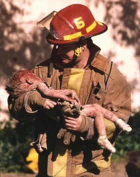 This photograph by Charles Porter of a OKC firefighter holding a dying infant won a Pulitzer Prize in 1996.