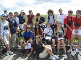 Bertha Vazquez with her students in the Everglades.