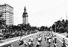 Bike riders head north on Biscayne in 1940. Things have gotten tougher since then for bicyclists.