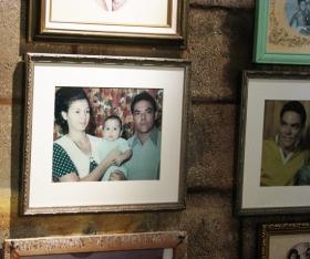 Garcia family photos hang inside of the restaurant.