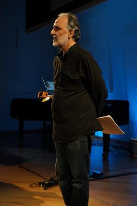 Gustavo Matamoros, speaking about John Cage at the New World Center.