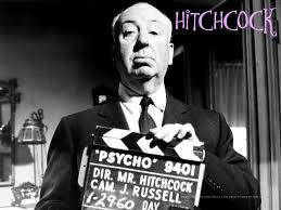 Director Alfred Hitchcock on the set of perhaps his most famous film, Psycho.