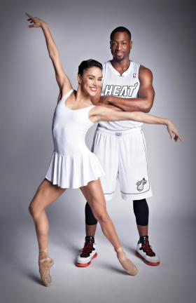 Miami Heat star Dwayne Wade poses with a Delgado sister in a recent joint PR campaign.