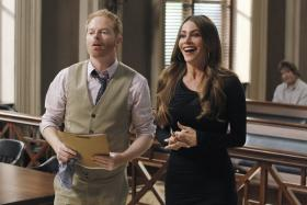 Actor Jesse Tyler Ferguson (left) and actress Sofia Vergara (right) share a moment in a scene from the season finale of Modern Family on ABC.