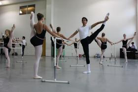 Advanced students taking technique class at Miami City Ballet School.
