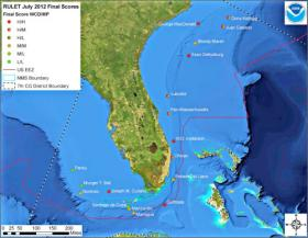 A map of potentially polluting shipwrecks off the U.S. coasts of Florida and North Carolina.