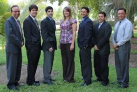 Six FIU students were selected to participate in cyberspace internships at Point Mugu Naval Base in Southern California and Georgia Tech Research Institute in Atlanta. From left to right, Himanshu Upadhyay, ARC IT program lead, Christopher Lopez, Jon Carvajal, Tiffany Arrazola, Steven Lopez, Michael Garcia and Dr. Leonel Lagos, director of research for ARC.