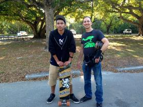 Robert Aguilar and Isaac Farin rest after an afternoon of therapy on wheels.