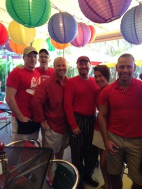 Staff at Rosie's restaurant in Wilton Manors, a heavily gay community in Broward County, wear red in support of marriage equality.