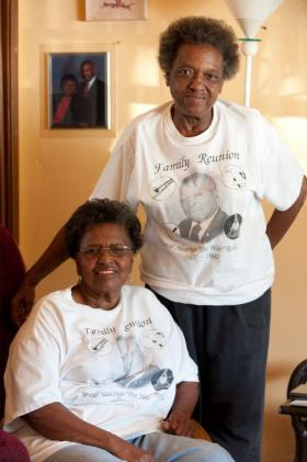 Agnes Rolle Morton (left) and her sister Naomi Yvonne Rolle in Liberty City. The two were born in Overtown before the construction of I-95 tore through the neighborhood.