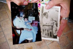 (Left photo) Cuca holds Isabel's brother as a baby. (Right photo) Cuca holds Isabel's father as a baby.