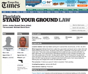 A screenshot of the Tampa Bay Times database on Stand Your Ground cases shows the November 2012 killing of Jacksonville black teen Jordan Davis by white adult Michael Dunn. The trial is scheduled for September.