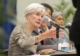HHS Secretary Kathleen Sebelius visited Miami on Tuesday for a panel discussion on healthcare changes.