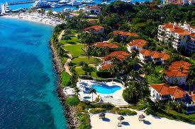 An aerial view of Fisher Island.