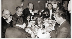Santo Trafficante, Jr., is third from the left in this photo from a dinner in New York City in the 1970s.  Trafficante operated several casinos in Cuba and was head of the Sicilian Mafia in Florida.