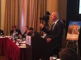 Governor Rick Scott speaks to board members with Enterprise Florida, the state's public-private economic development agency on Oct. 31.
