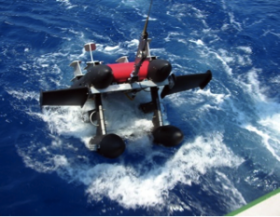 The underwater robotic camera, ISIIS being retrieved after collecting data in the Straits of Florida.