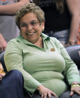 University of Miami president Donna Shalala smiles during the second half of the game between the Virginia Cavaliers against the Miami Hurricanes at BankUnited Center in Miami on Feb. 19.