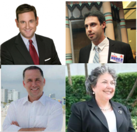 Three candidates, Philip Levine, Michael Gongora and Steve Berke (clockwise from bottom left) are vying for the seat vacated by Matti Herrera Bower (bottom right).